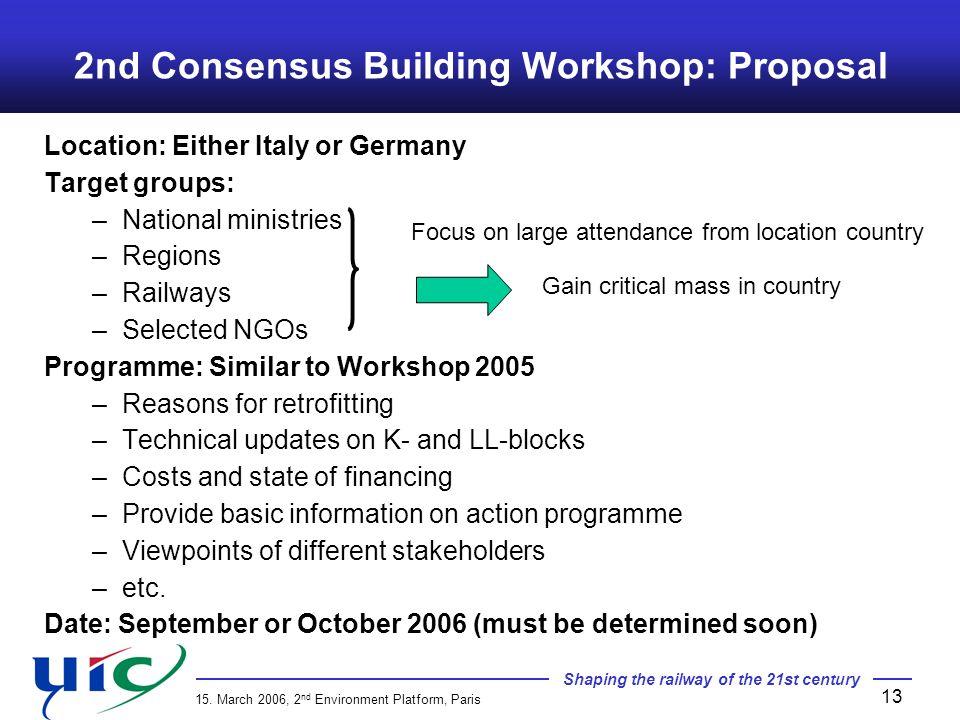 2nd Consensus Building Workshop: Proposal
