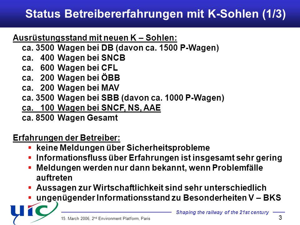 Status Betreibererfahrungen mit K-Sohlen (1/3)