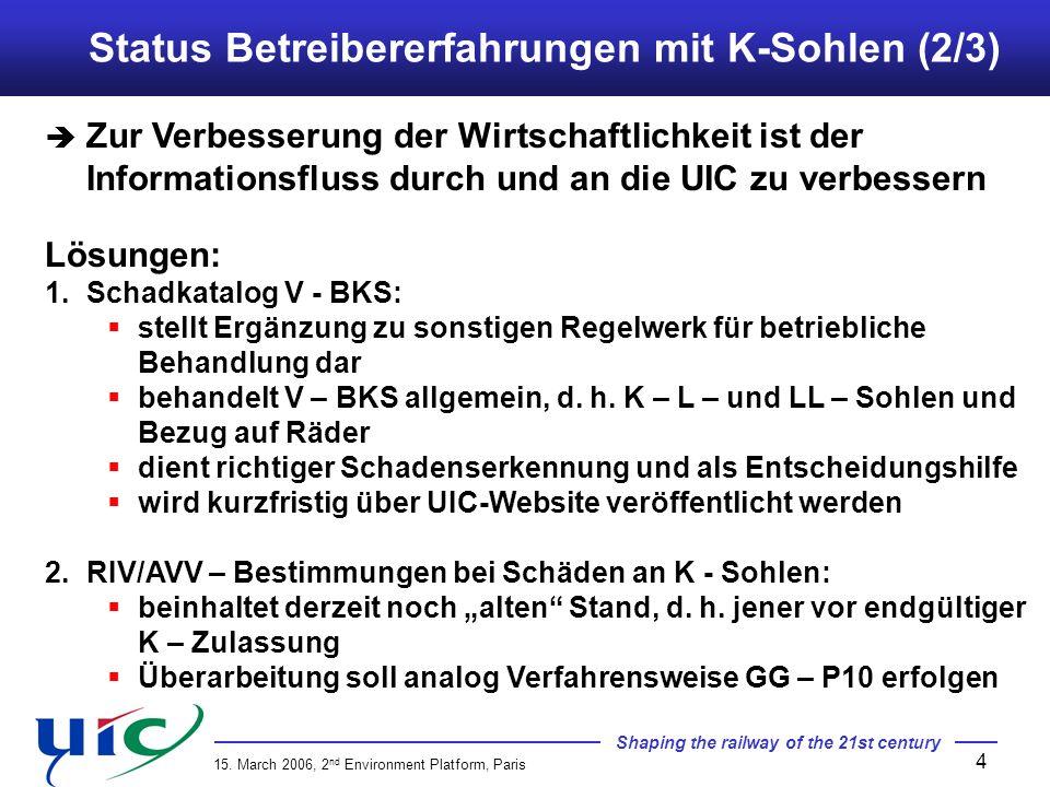 Status Betreibererfahrungen mit K-Sohlen (2/3)