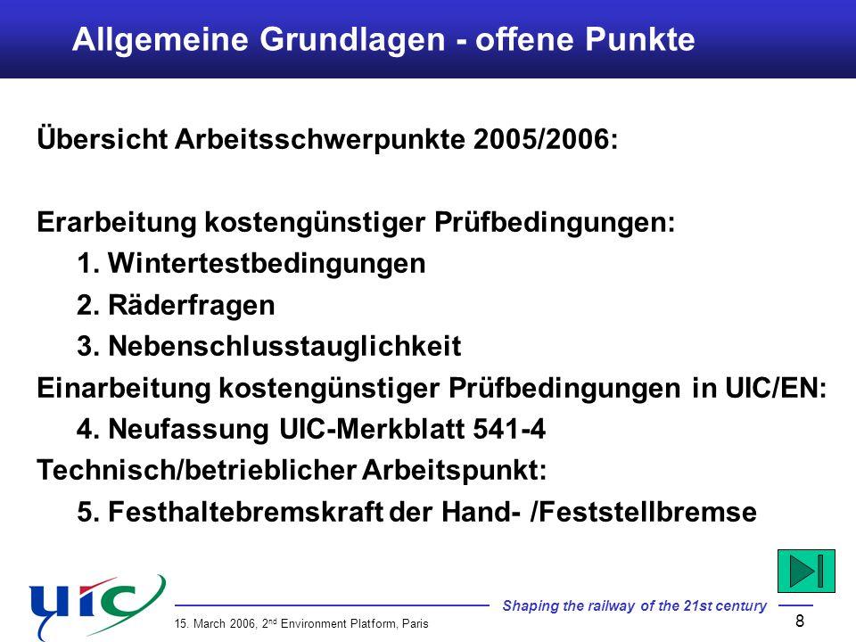 Allgemeine Grundlagen - offene Punkte
