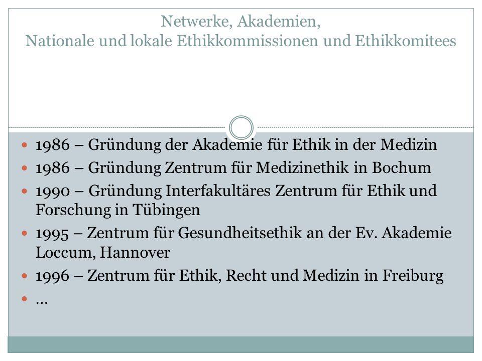 Netwerke, Akademien, Nationale und lokale Ethikkommissionen und Ethikkomitees