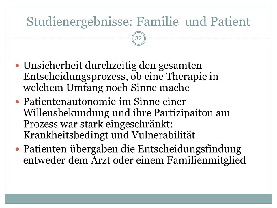 Studienergebnisse: Familie und Patient