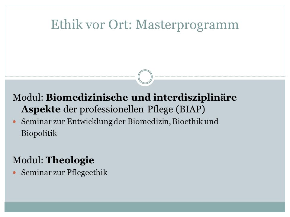 Ethik vor Ort: Masterprogramm