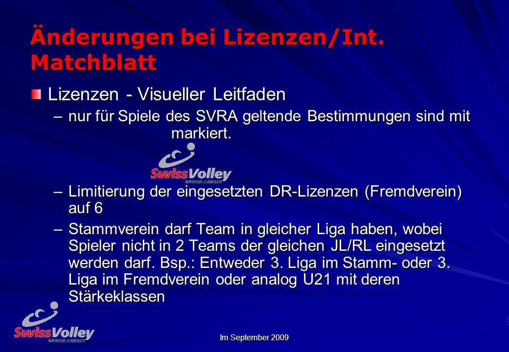 Änderungen bei Lizenzen/Int. Matchblatt