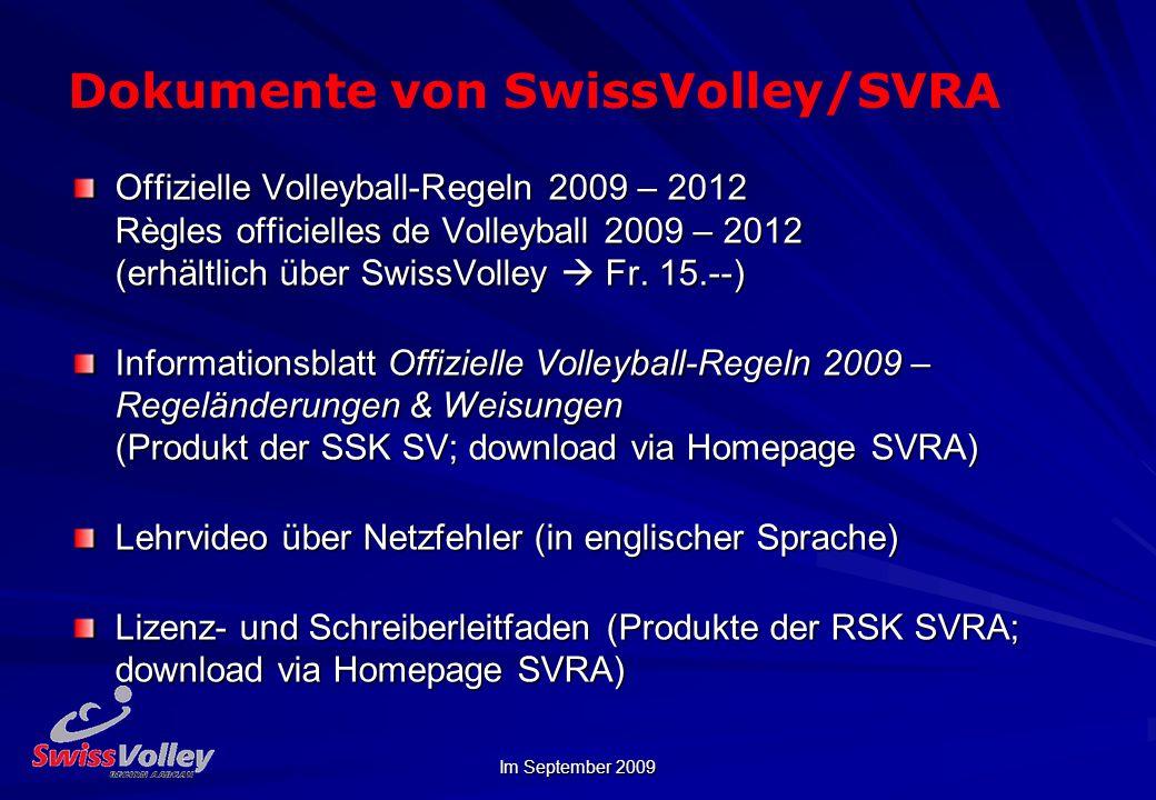 Dokumente von SwissVolley/SVRA