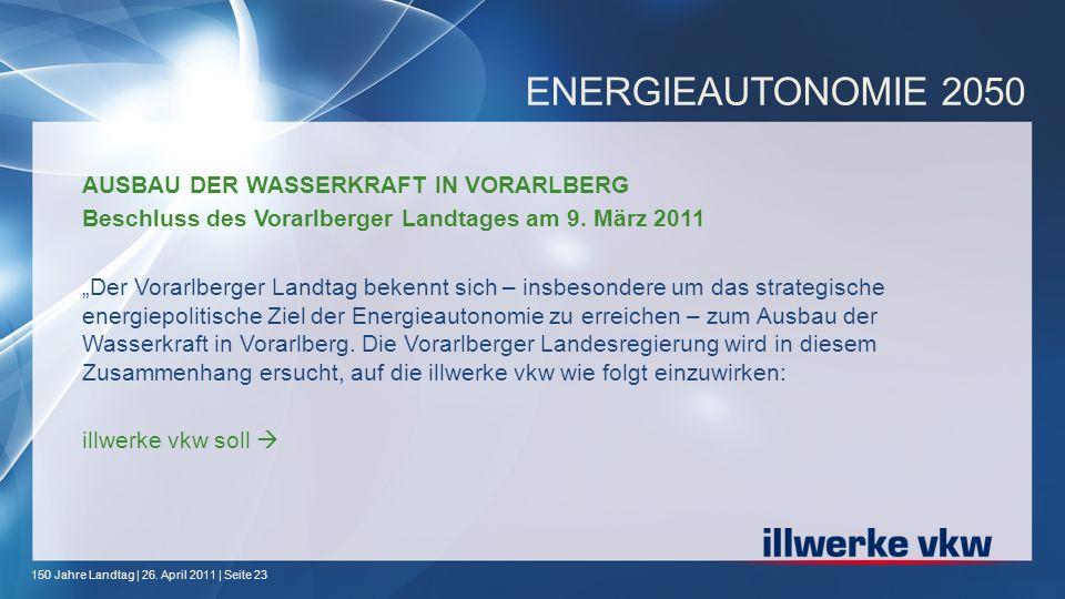 ENERGIEAUTONOMIE 2050 AUSBAU DER WASSERKRAFT IN VORARLBERG