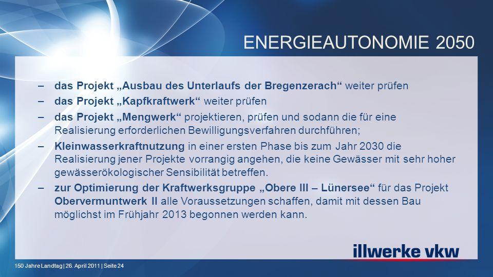 """ENERGIEAUTONOMIE 2050 das Projekt """"Ausbau des Unterlaufs der Bregenzerach weiter prüfen. das Projekt """"Kapfkraftwerk weiter prüfen."""