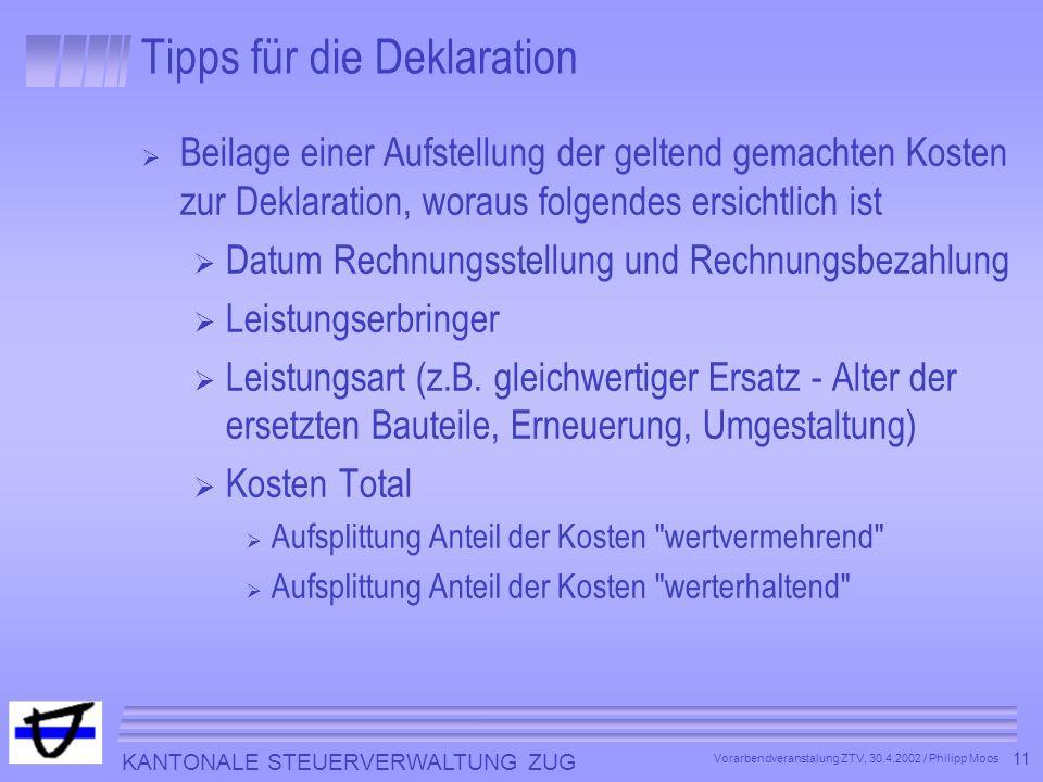 Tipps für die Deklaration
