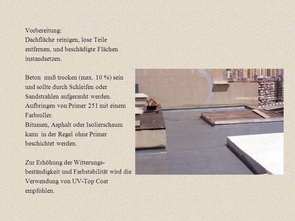 Vorbereitung: Dachfläche reinigen, lose Teile. entfernen, und beschädigte Flächen. instandsetzen.