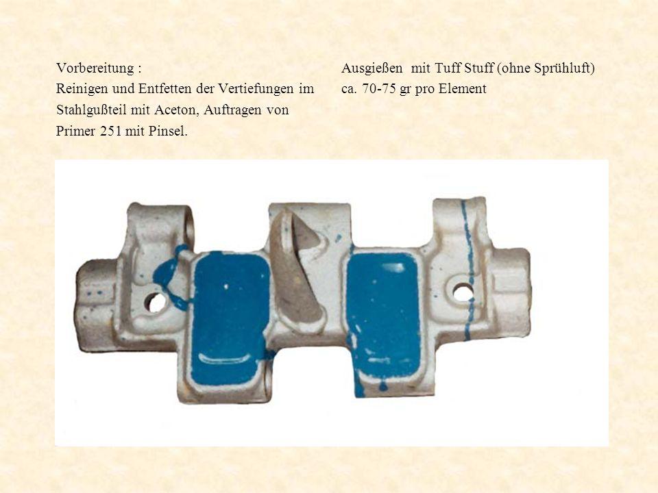 Vorbereitung : Reinigen und Entfetten der Vertiefungen im. Stahlgußteil mit Aceton, Auftragen von.