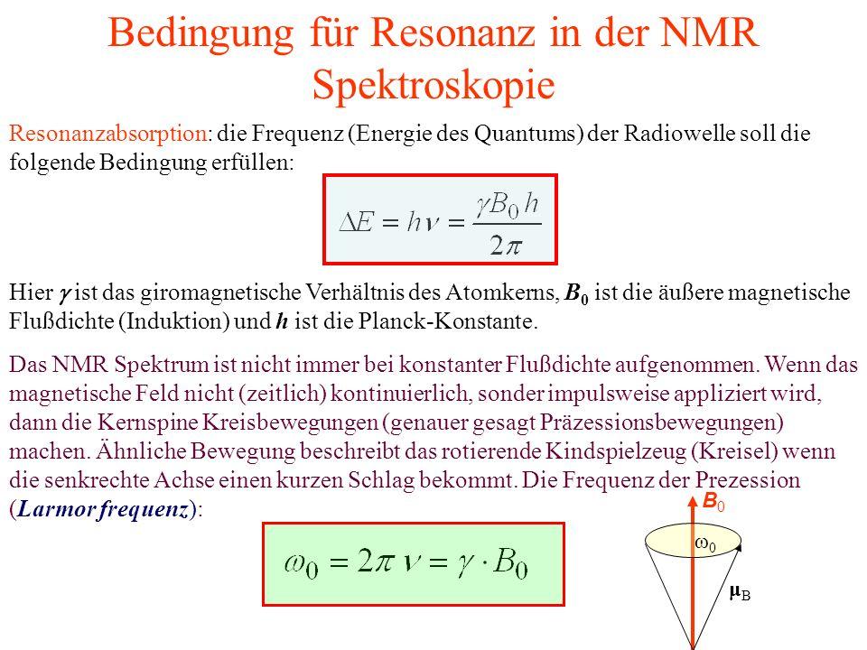 Bedingung für Resonanz in der NMR Spektroskopie