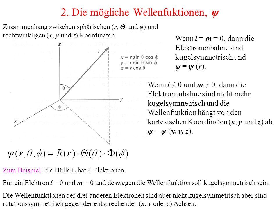 2. Die mögliche Wellenfuktionen, ψ