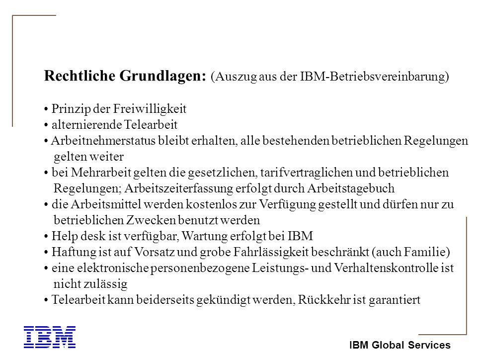 Rechtliche Grundlagen: (Auszug aus der IBM-Betriebsvereinbarung)