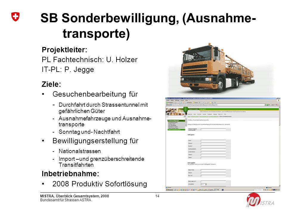 SB Sonderbewilligung, (Ausnahme- transporte)