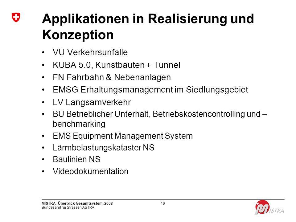 Applikationen in Realisierung und Konzeption