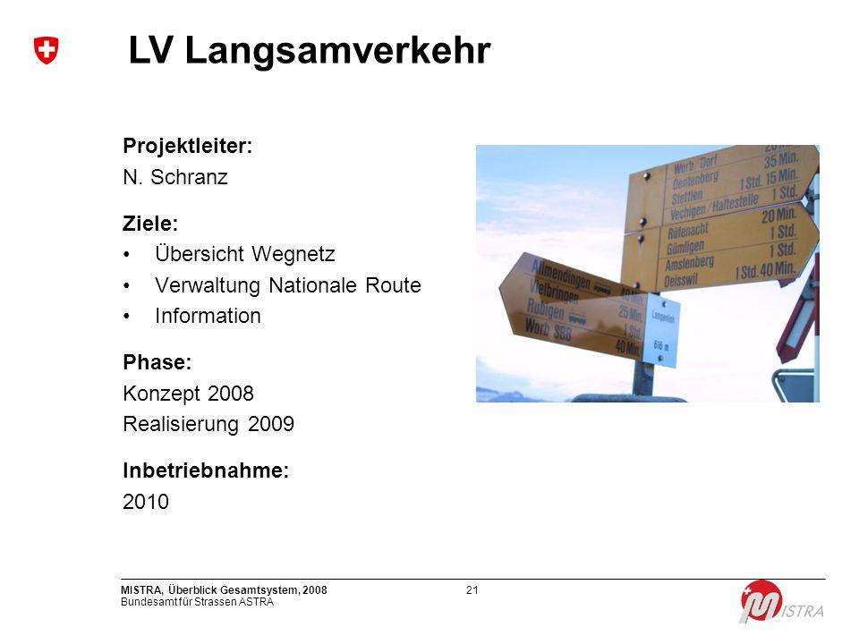 LV Langsamverkehr Projektleiter: N. Schranz Ziele: Übersicht Wegnetz