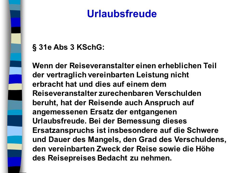 Urlaubsfreude § 31e Abs 3 KSchG: