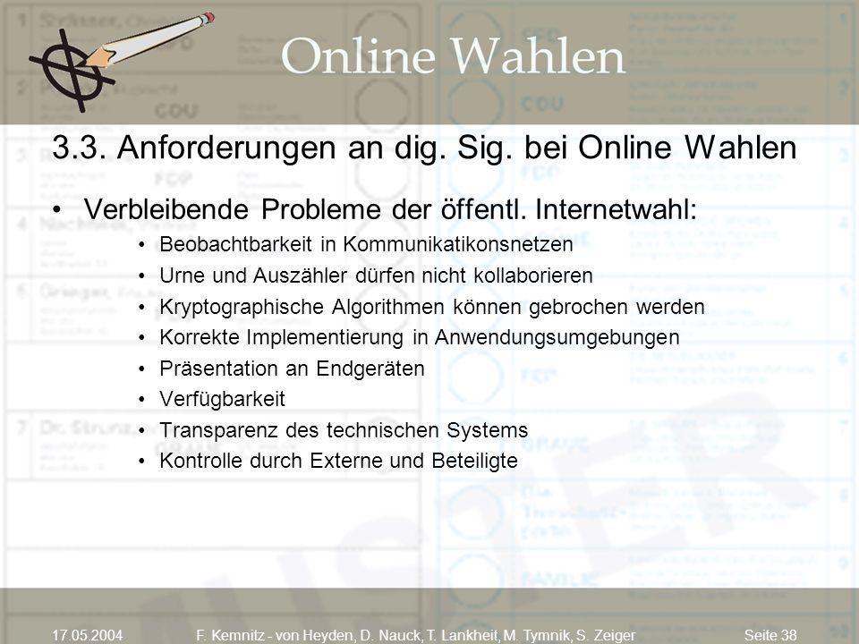 3.3. Anforderungen an dig. Sig. bei Online Wahlen