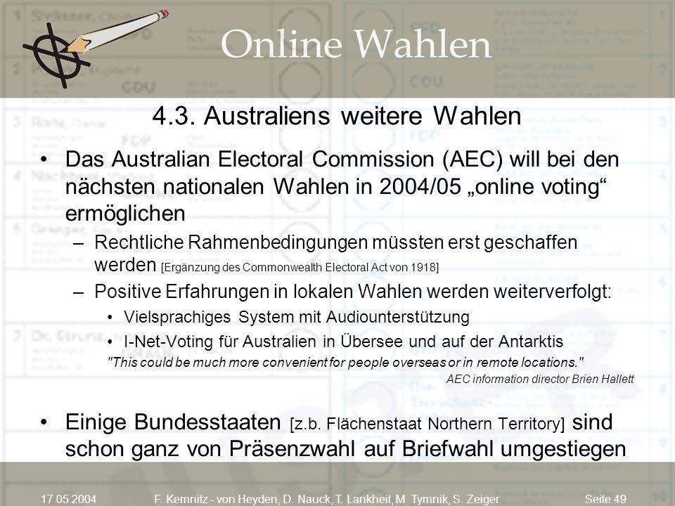 4.3. Australiens weitere Wahlen