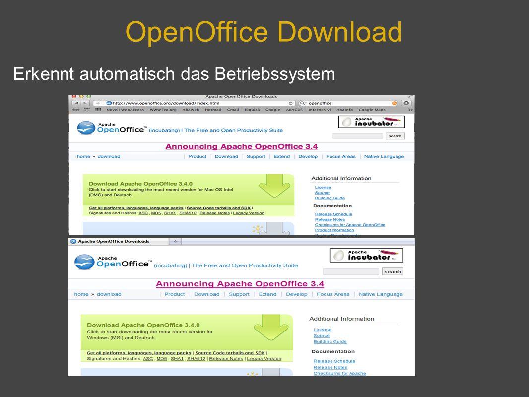 OpenOffice Download Erkennt automatisch das Betriebssystem