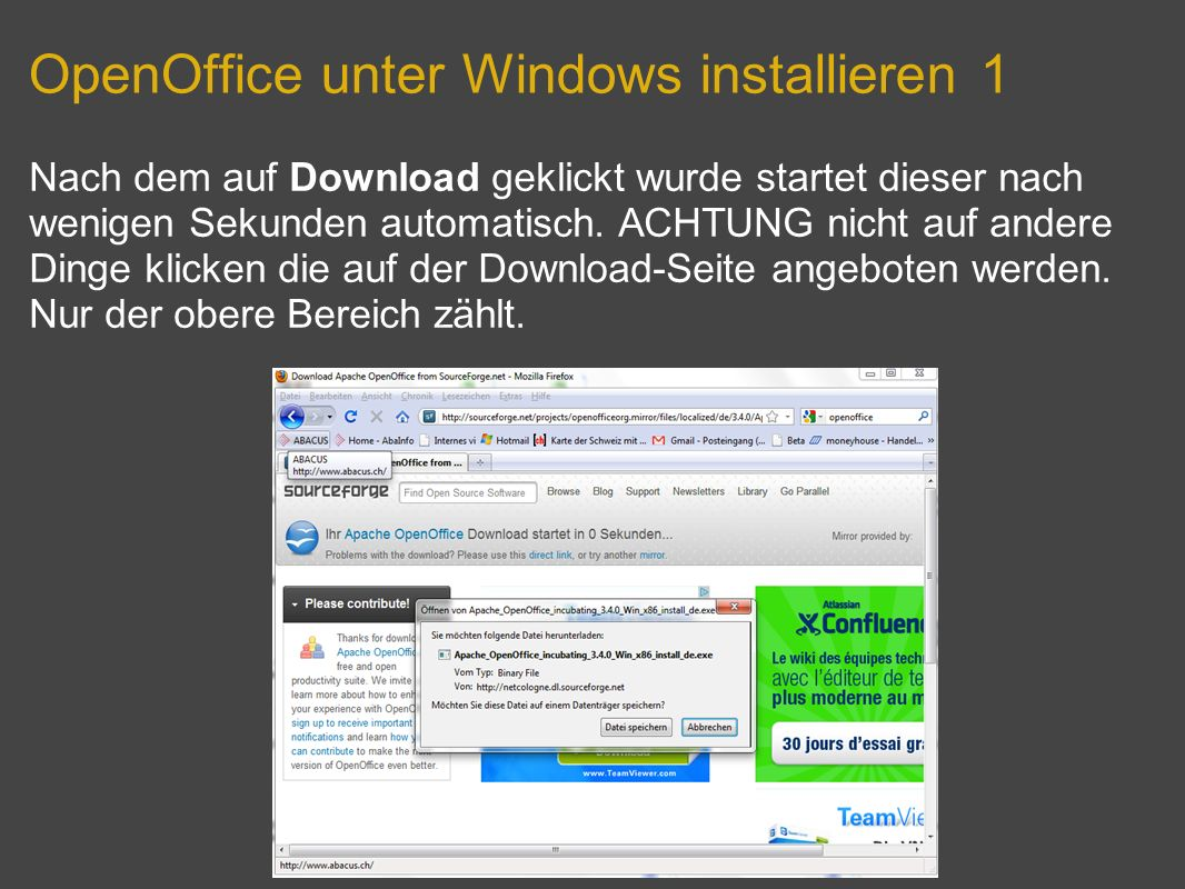 OpenOffice unter Windows installieren 1