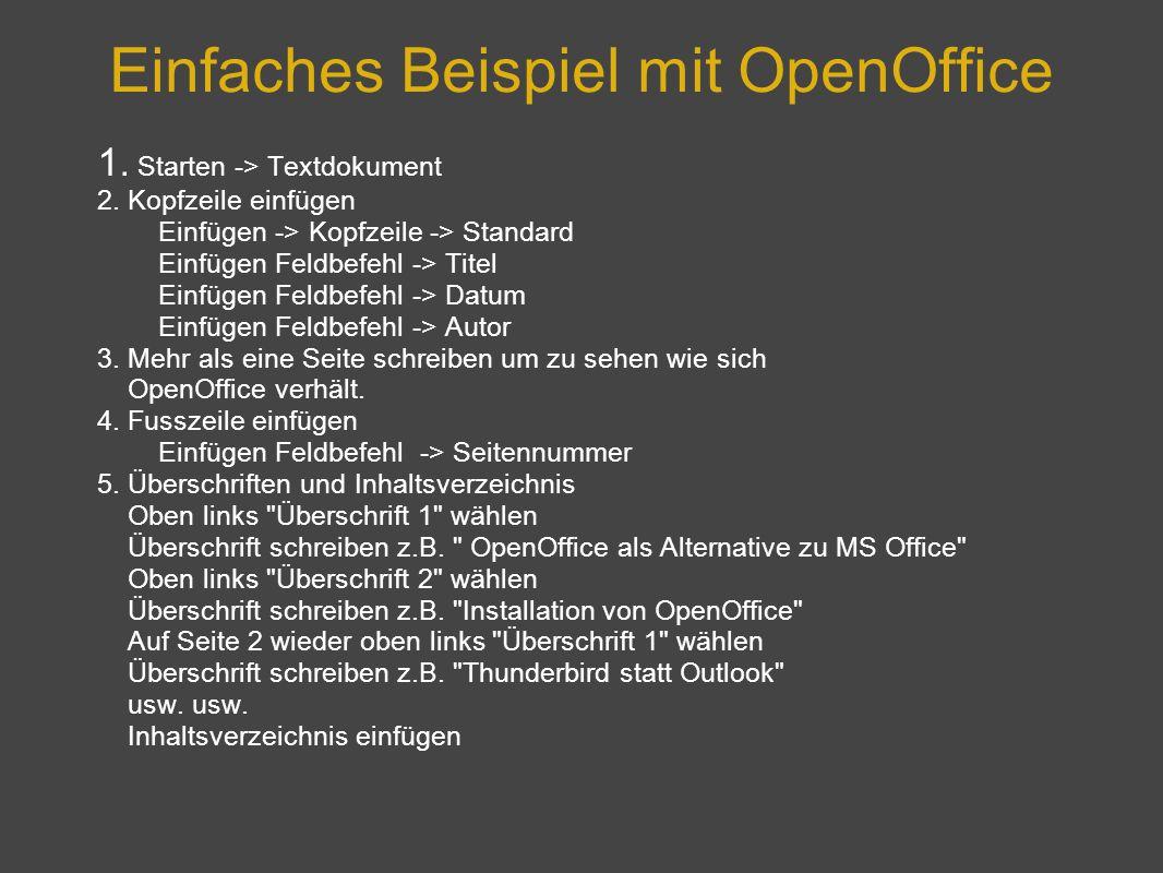 Einfaches Beispiel mit OpenOffice