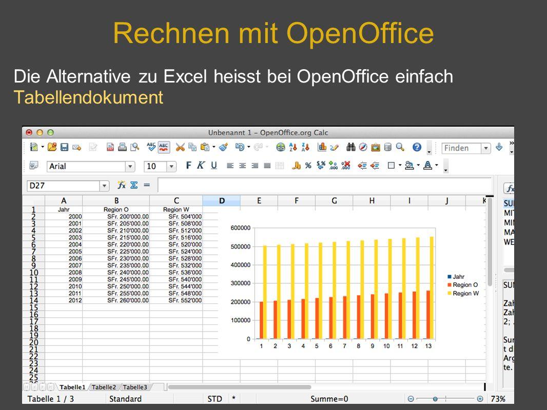 Rechnen mit OpenOffice