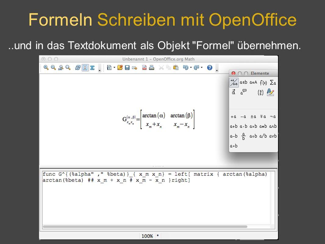 Formeln Schreiben mit OpenOffice