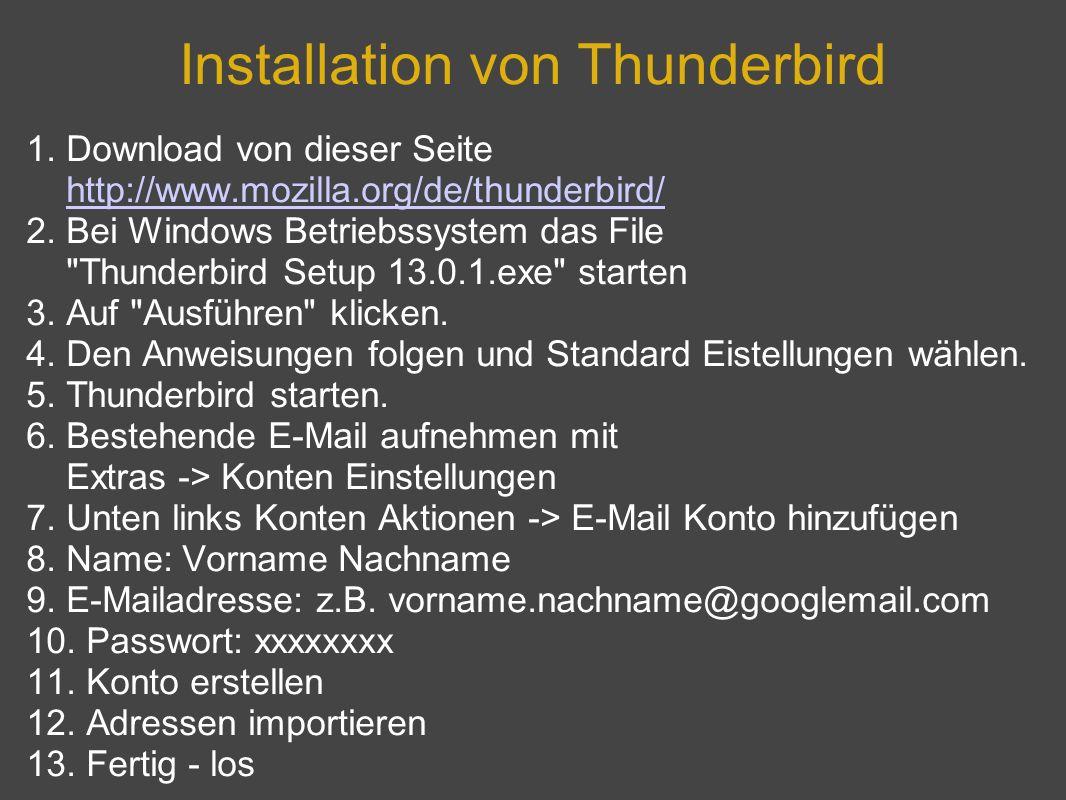 Installation von Thunderbird