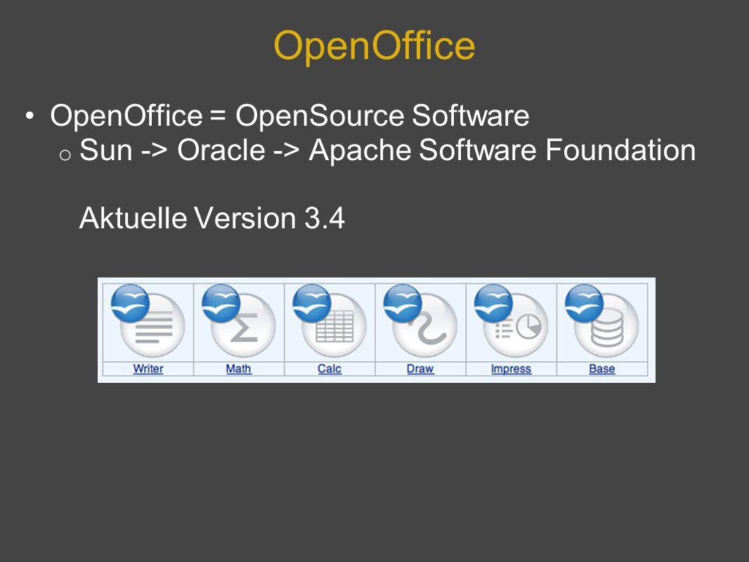 OpenOffice OpenOffice = OpenSource Software