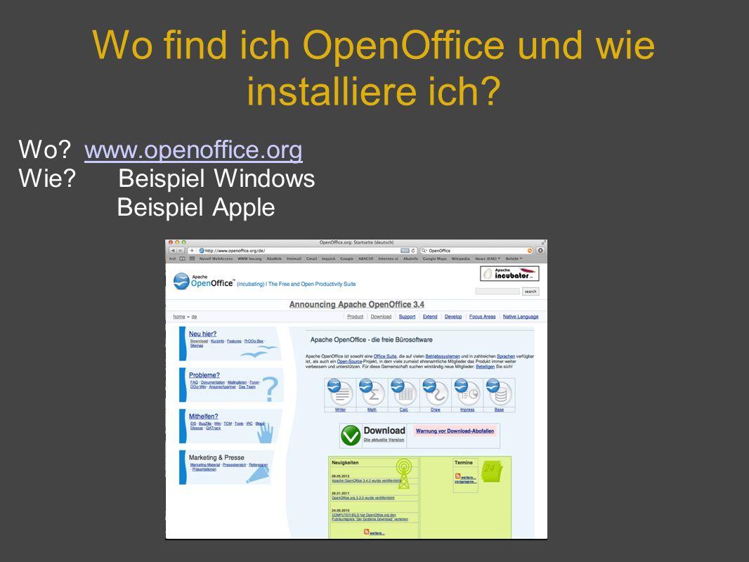 Wo find ich OpenOffice und wie installiere ich