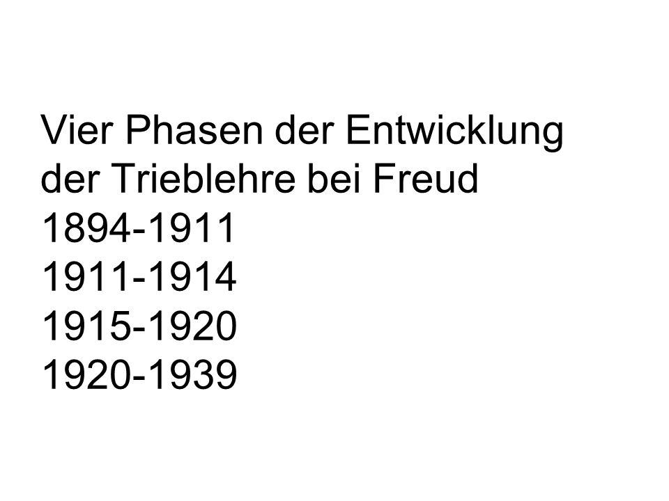 Vier Phasen der Entwicklung der Trieblehre bei Freud 1894-1911 1911-1914 1915-1920 1920-1939