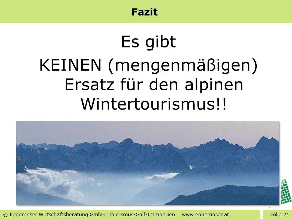 Fazit Es gibt KEINEN (mengenmäßigen) Ersatz für den alpinen Wintertourismus!!