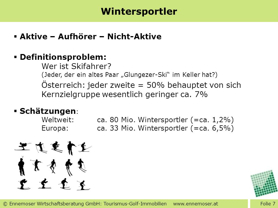Wintersportler Aktive – Aufhörer – Nicht-Aktive Definitionsproblem: