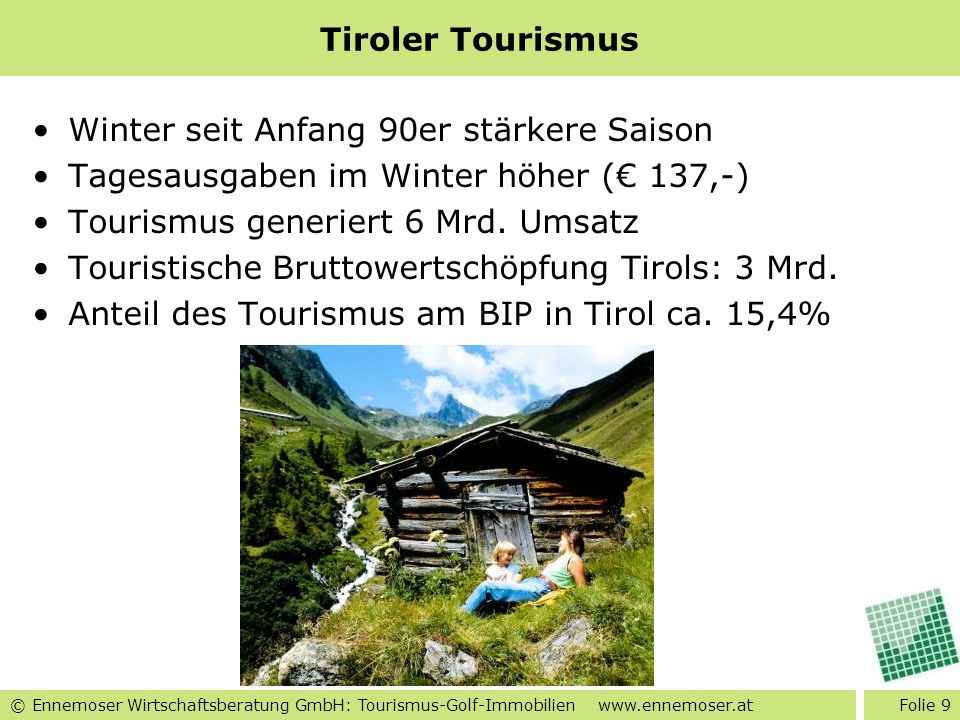 Tiroler Tourismus Winter seit Anfang 90er stärkere Saison. Tagesausgaben im Winter höher (€ 137,-)
