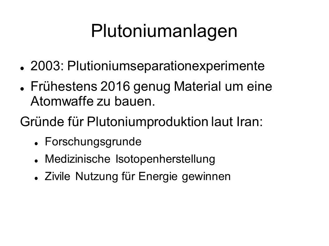 Plutoniumanlagen 2003: Plutioniumseparationexperimente