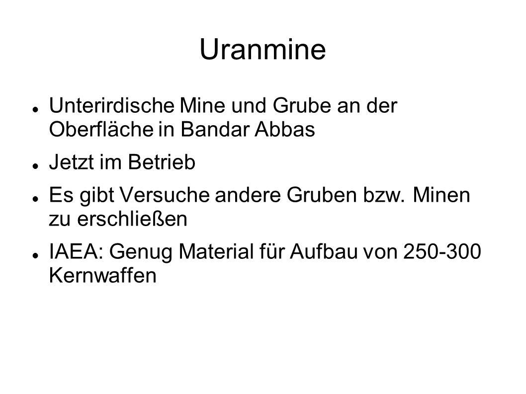Uranmine Unterirdische Mine und Grube an der Oberfläche in Bandar Abbas. Jetzt im Betrieb.