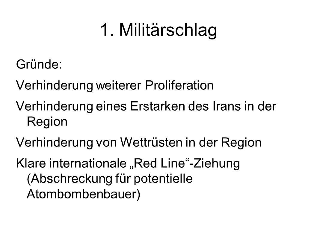 1. Militärschlag Gründe: Verhinderung weiterer Proliferation