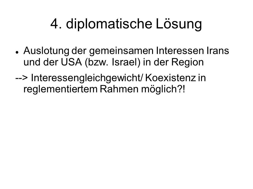 4. diplomatische Lösung Auslotung der gemeinsamen Interessen Irans und der USA (bzw. Israel) in der Region.