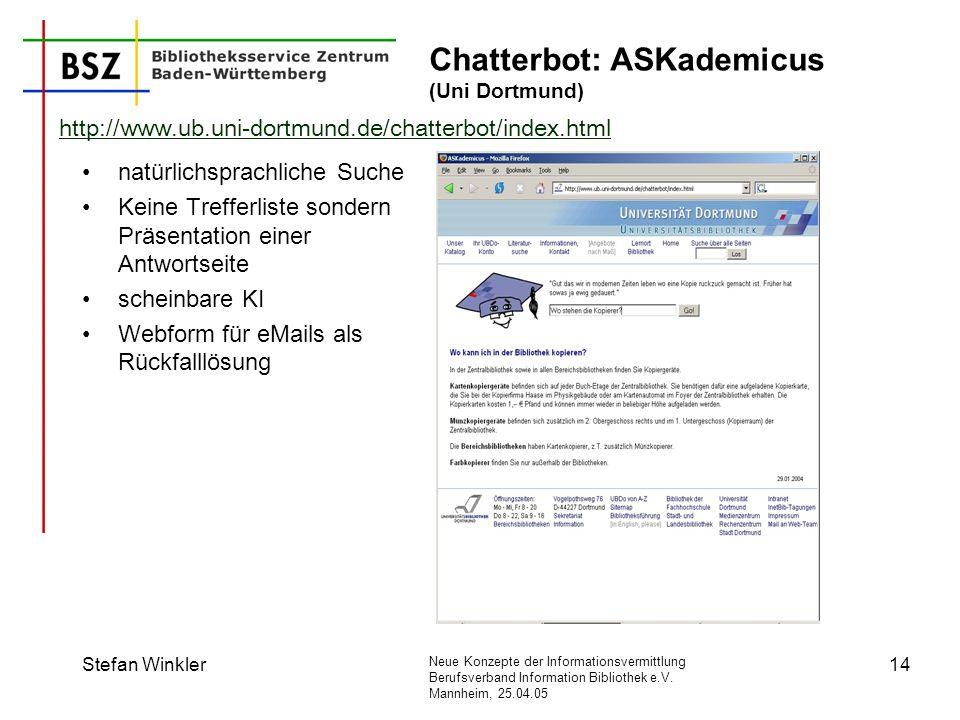 Chatterbot: ASKademicus (Uni Dortmund)