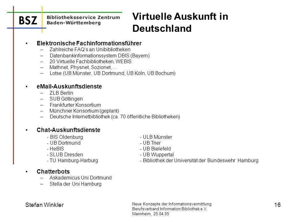 Virtuelle Auskunft in Deutschland