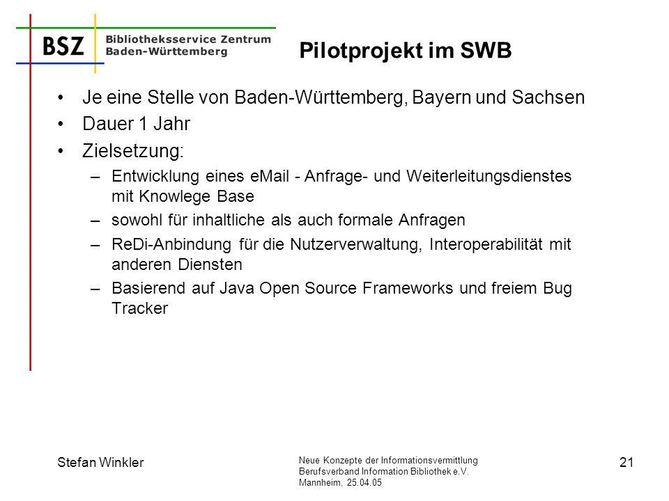 Pilotprojekt im SWB Je eine Stelle von Baden-Württemberg, Bayern und Sachsen. Dauer 1 Jahr. Zielsetzung: