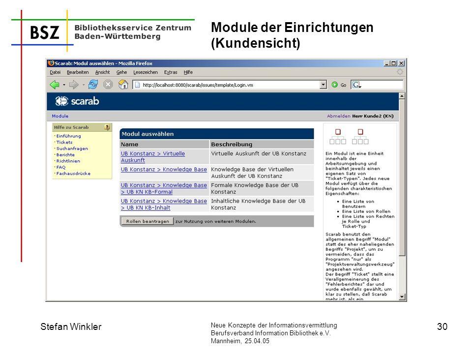 Module der Einrichtungen (Kundensicht)