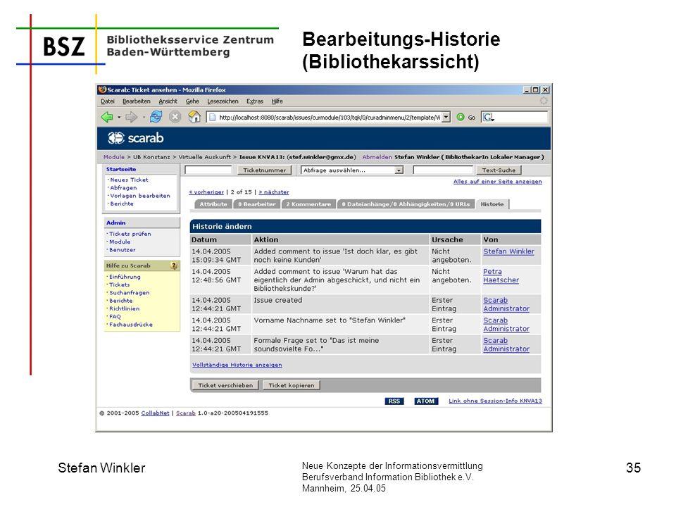 Bearbeitungs-Historie (Bibliothekarssicht)