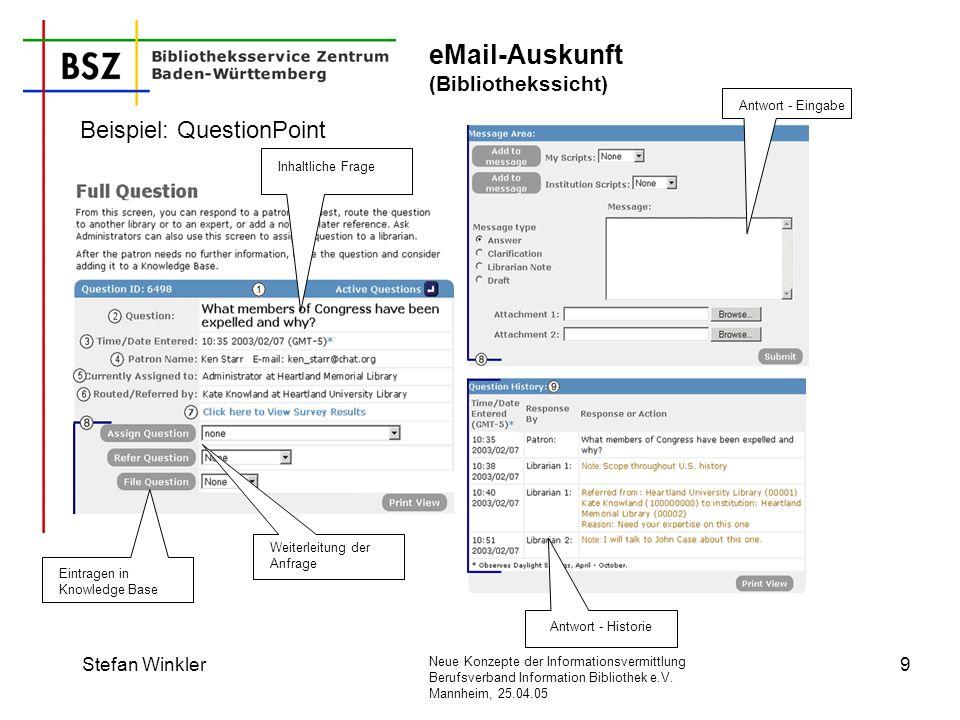 eMail-Auskunft (Bibliothekssicht)
