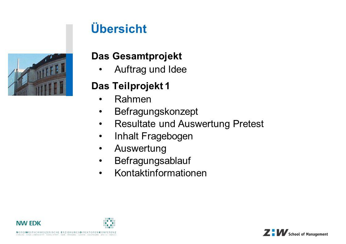 Übersicht Das Gesamtprojekt Auftrag und Idee Das Teilprojekt 1 Rahmen