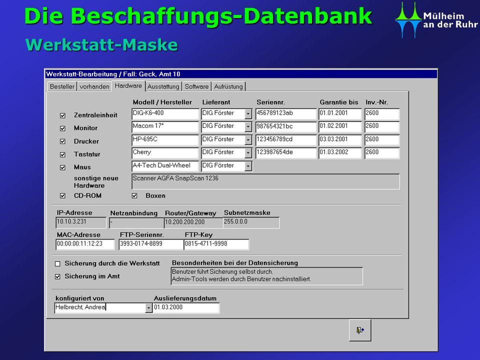 Die Beschaffungs-Datenbank