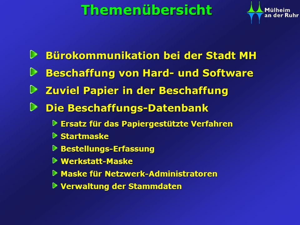 Themenübersicht Bürokommunikation bei der Stadt MH