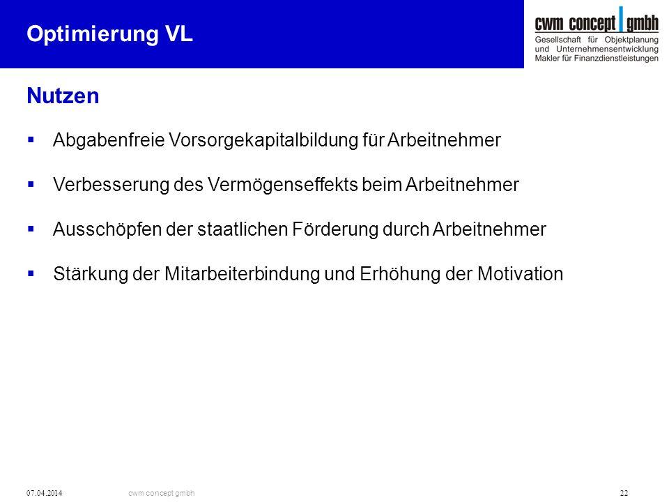 Optimierung VL Nutzen. Abgabenfreie Vorsorgekapitalbildung für Arbeitnehmer. Verbesserung des Vermögenseffekts beim Arbeitnehmer.