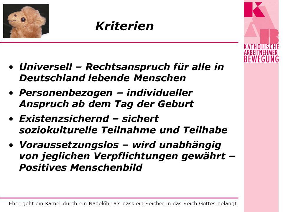 KriterienUniversell – Rechtsanspruch für alle in Deutschland lebende Menschen. Personenbezogen – individueller Anspruch ab dem Tag der Geburt.